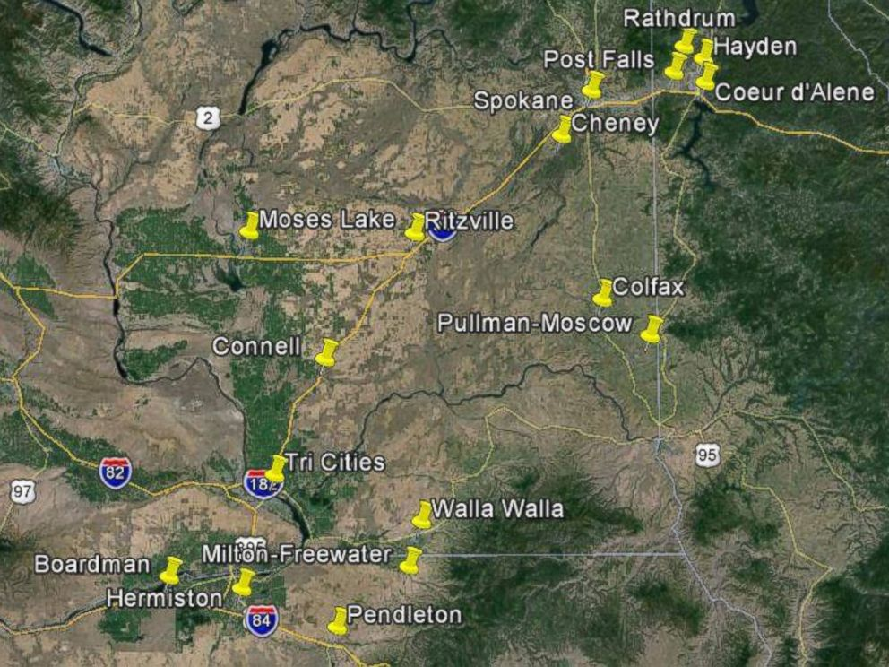 PHOTO: A map of where milky rain has been reported in the Northwest.
