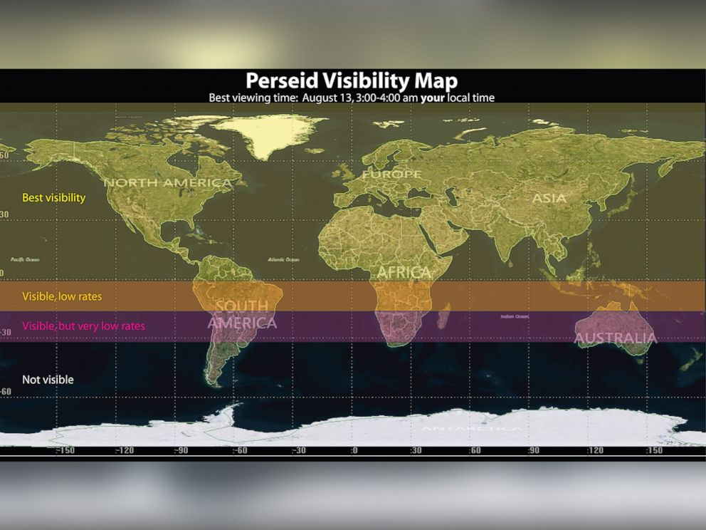 PHOTO: This map shows global viewing for the Perseids.