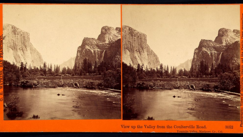 View up the valley from the Coulterville Road, Yosemite Valley, Cal. 1861-1873.