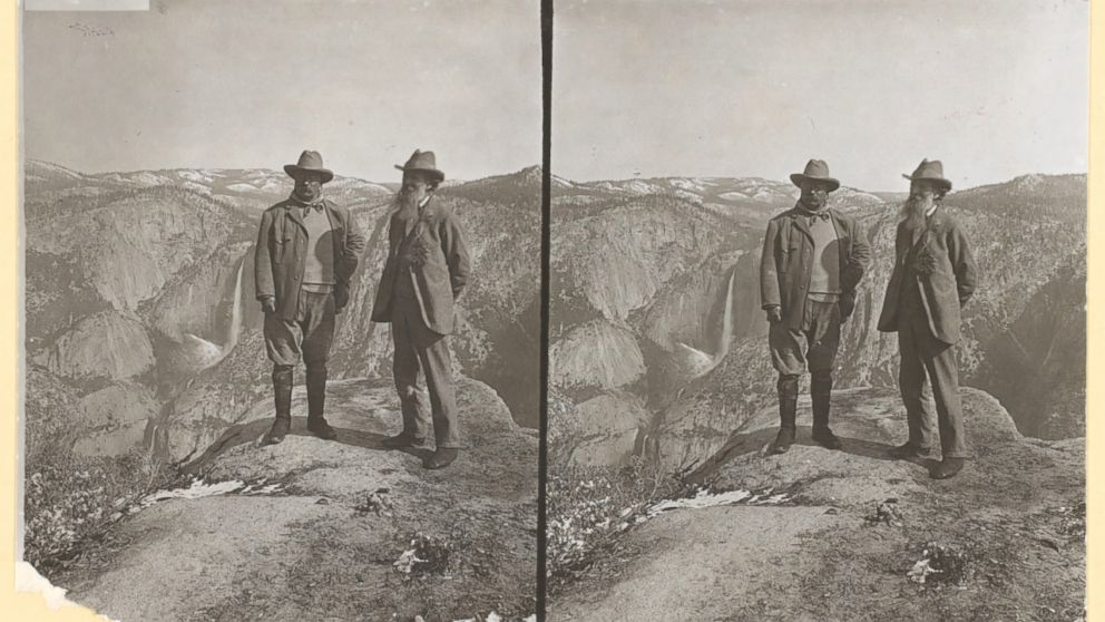Theodore Roosevelt and John Muir on Glacier Point, Yosemite Valley, California, in 1903.