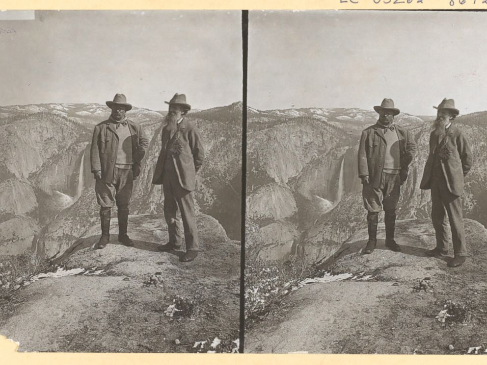PHOTO: Theodore Roosevelt and John Muir on Glacier Point, Yosemite Valley, California, in 1903.