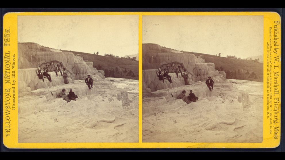 Visitors at Mammoth Hot Springs, Yellowstone, in 1876.