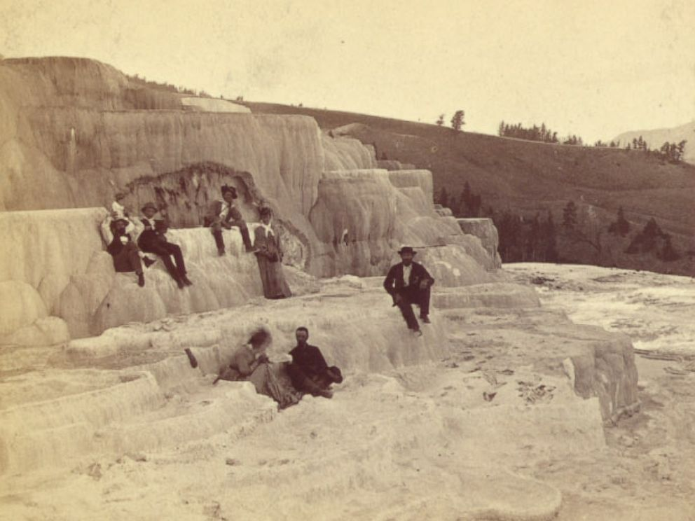 PHOTO: Visitors at Mammoth Hot Springs, Yellowstone, in 1876.
