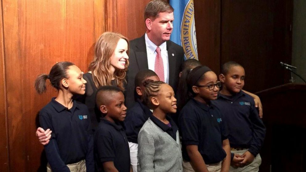 Nikki Bollerman, teacher at UP Academy Dorchester, congratulated by @marty_walsh on her $150k donation to her school.