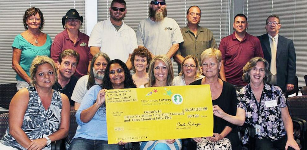 PHOTO: The group of 16 New Jersey county workers who are the owners of one-third of the Powerball jackpot are shown.