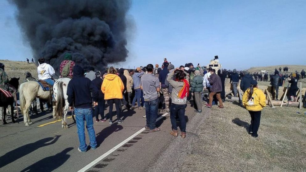 Tensions heightened between law enforcement and protesters over the Dakota Access Pipeline near the Standing Rock Sioux Tribe's reservation in North Dakota on Oct. 27, 2016.