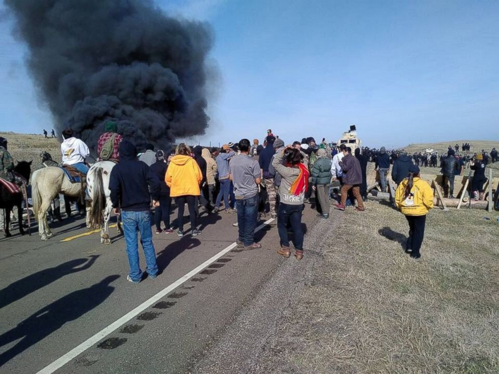 PHOTO: Tensions heightened between law enforcement and protesters over the Dakota Access Pipeline near the Standing Rock Sioux Tribes reservation in North Dakota on Oct. 27, 2016.