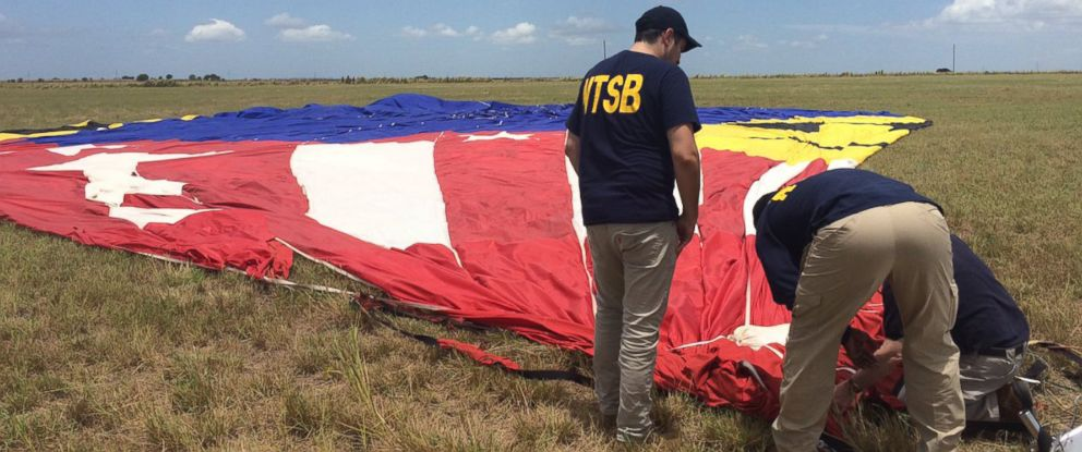 PHOTO: NTSB posted this photo on Twitter, July 31, 2016 of a balloon crash in Texas.