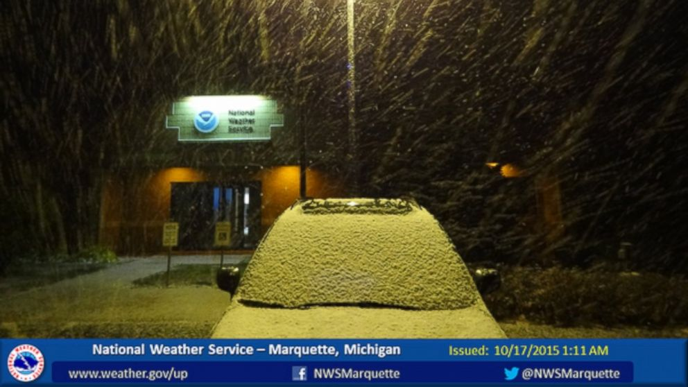 "National Weather Service in Marquette, Michigan posted this photo to Twitter Oct. 17, 2015 with the caption, ""Snow shower passed across our office around 1 AM EDT and left a quick half inch of accumulation."""