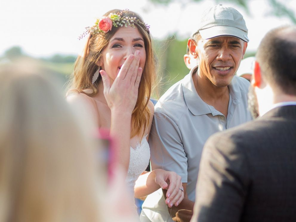 PHOTO: Stephanie and Brian met President Obama on their wedding day when he came to play golf at their venue, the Torrey Pines Golf Course in San Diego, Calif., on Oct. 11, 2015.