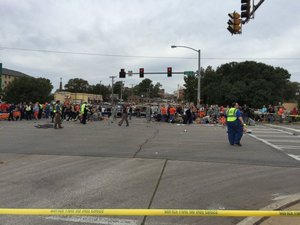 PHOTO: Several people were injured when a car crashed into a crowd at the Oklahoma State University homecoming parade on Oct. 24, 2015.