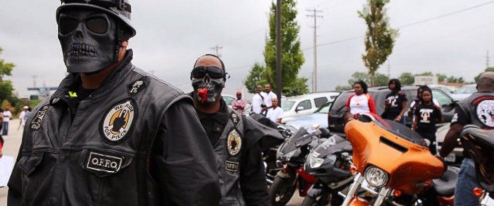 PHOTO: Bikers arrive in Ferguson, Missouri to participate in a Michael Brown rally.