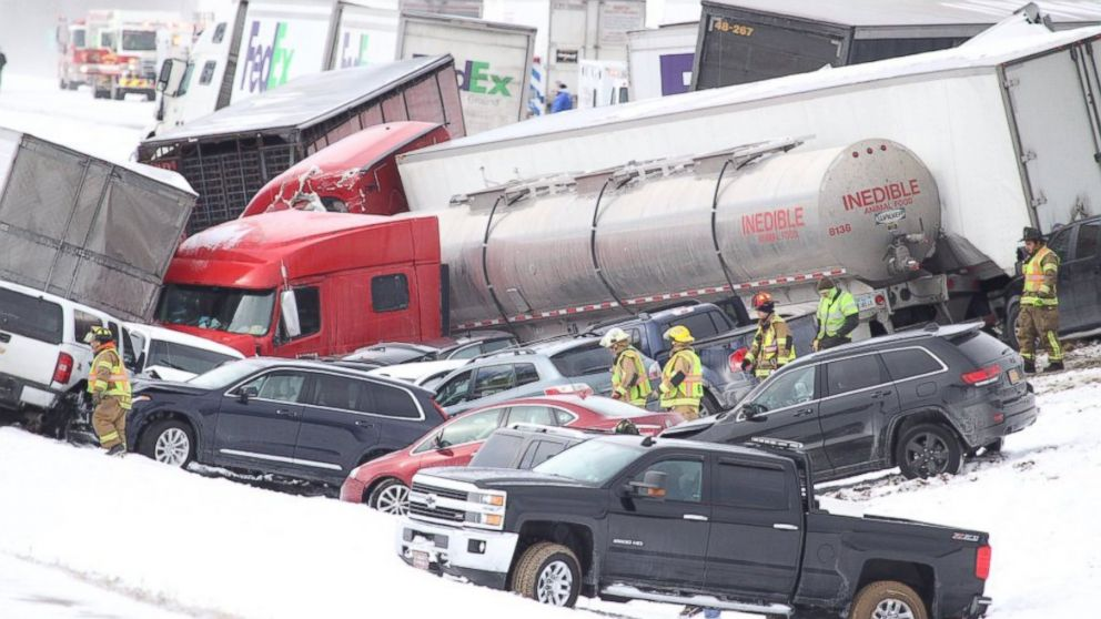 About 50 Cars Involved in Deadly Pile-Up on Snow-Covered Interstate