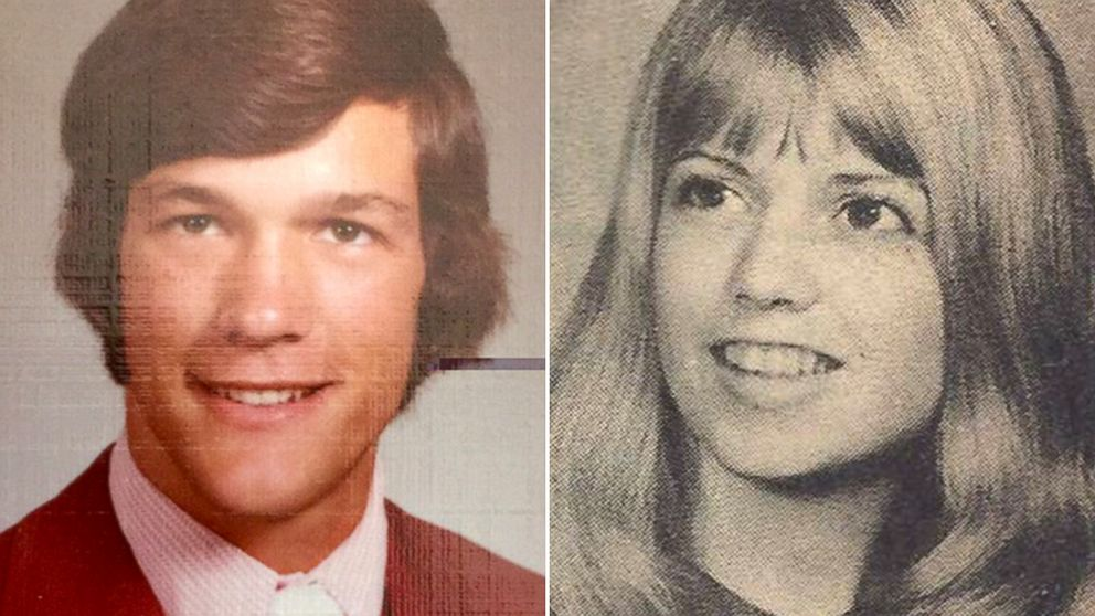 Marilyn Mecham, right, was in her first year teaching when she had Kevin Perz as a student, both pictured here in undated high school yearbook photos.