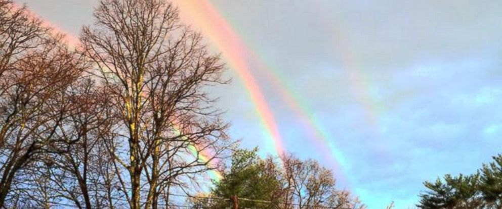 PHOTO: A quadruple rainbow is seen near the Glencove, N.Y. Long Island Rail Road station, April 21, 2015.