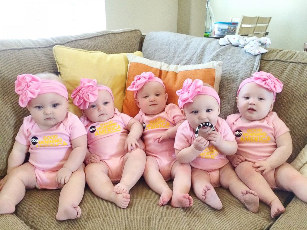 PHOTO: The Busby girls -- the only all-female quintuplets in the nation -- appeared on GMA on Friday. Ava, Olivia, Hazel, Parker, Riley Busby are now 10 months old.