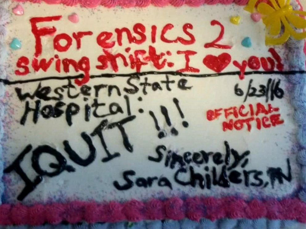 PHOTO Sara Childers had a cake delivered