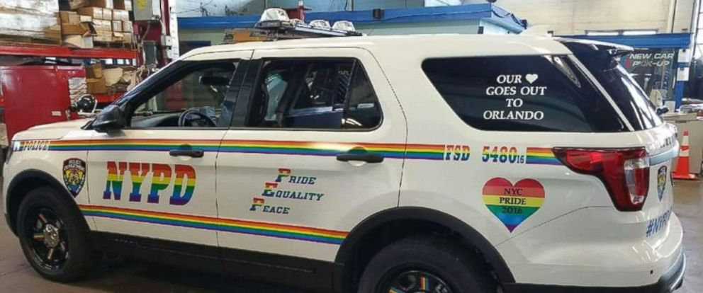"PHOTO: The Orlando Police Department tweeted a photo of a rainbow-colored New York Police Department vehicle on June, 22, 2016, with the text, ""Some love from NYPD. Thank you All!. #OrlandoUnited."""