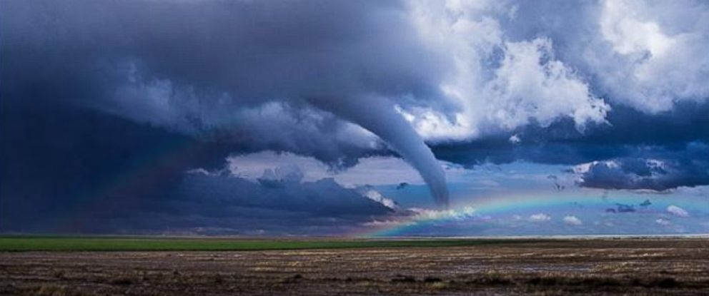PHOTO: Storm chaser Benjamin Jurkovich captured this image of a rainbow near a tornado
