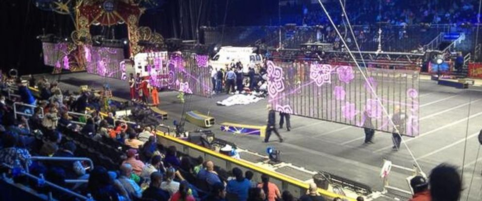 "PHOTO: Sydney Bragg tweeted this photo on May 4,2014, ""There was an accident at the circus during an act and snapped the performers necks. Im like [shaking] and frightened."""