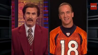 PHOTO: Peyton Manning is interviewed by Ron Burgundy in this video posted to Youtube: ESPN The Magazine: Ron Burgundy interviews Peyton Manning.