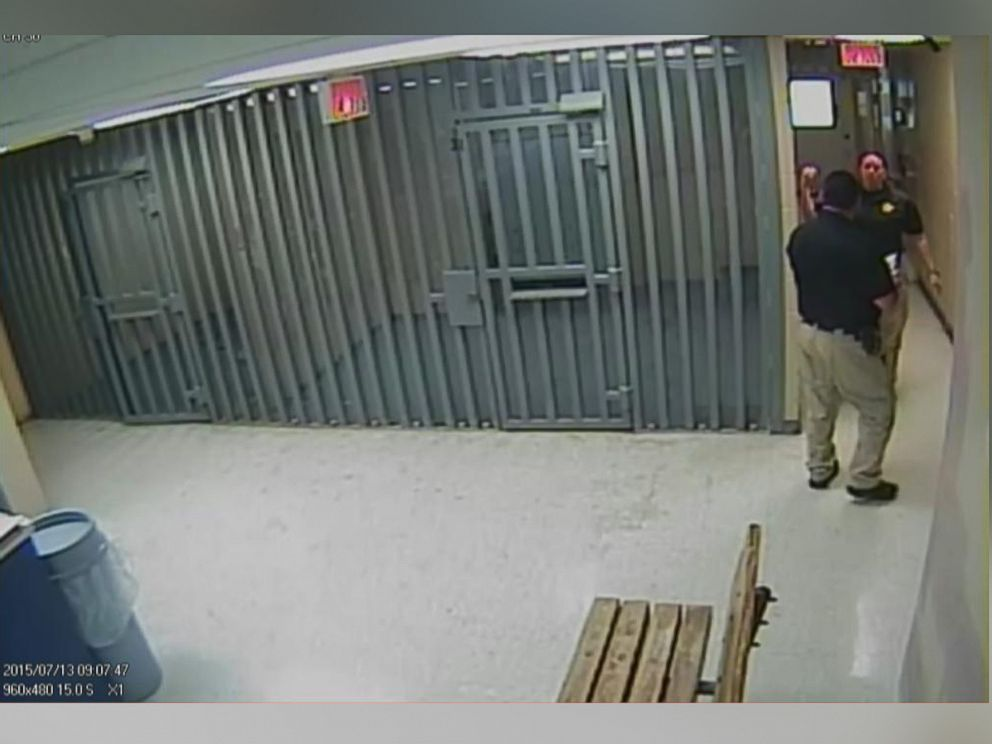 PHOTO: Surveillance footage released by the jail shows the area outside of Sandra Blands cell before and then after her body was discovered.