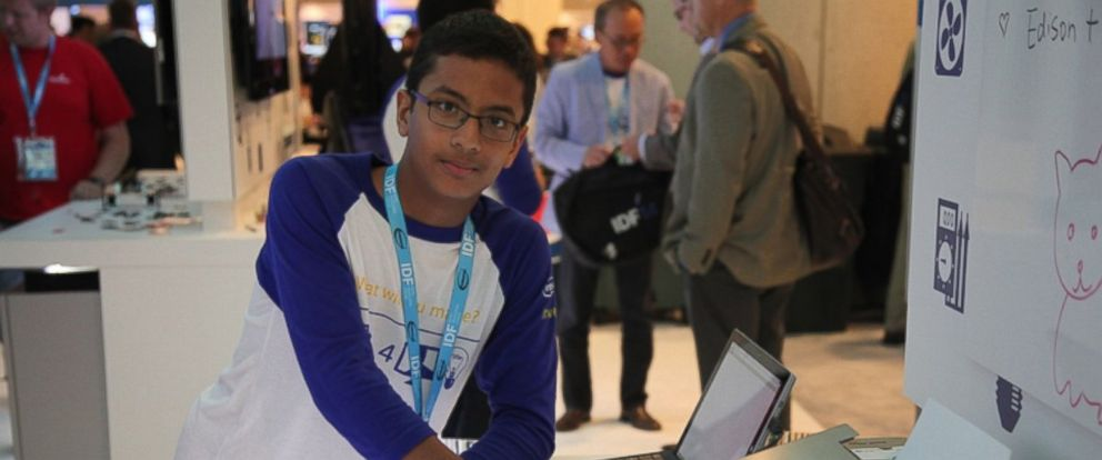 PHOTO: Shubham Banerjee, founder of Braigo Labs Inc., is seen at IDF (Intel Developers Forum) with Braigo 2.0 on Sept. 9, 2014.