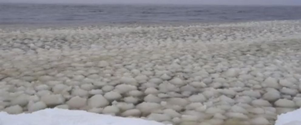 """PHOTO:Artist David Allen posted this video to the Facebook page of his art studio Stone Point Studio on Dec. 29, 2015, of what appears to be """"waves of snowballs"""" in Lake Sebago in Maine."""