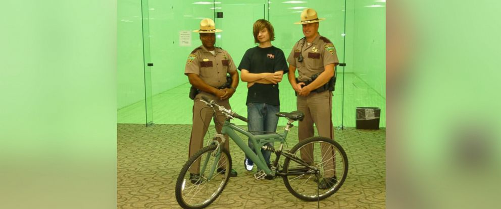 PHOTO: Troopers from the Sioux Falls B squad presented Tanner with a new bicycle on Aug. 16, 2016.