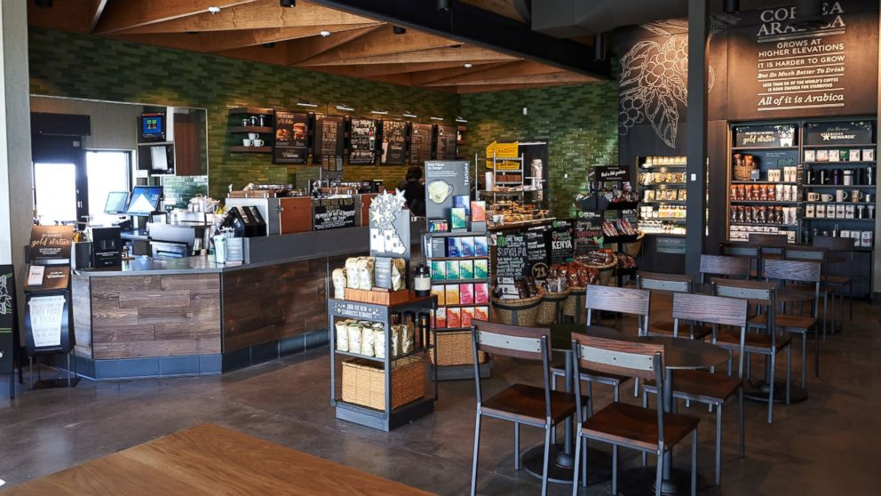 The interior of the Ferguson Starbucks location is seen here April 28, 2016 in Ferguson, Missouri.