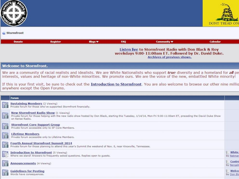 PHOTO: A screen grab from Stormfront.org is seen.