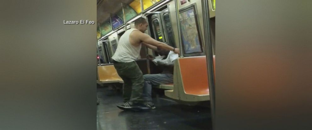PHOTO: Joey Resto, 23, had no idea someone was filming him as he gave a homeless man his shirt on a New York City subway Friday night.