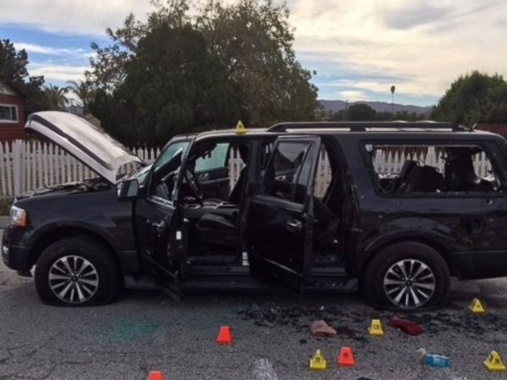 PHOTO: The San Bernardino County Sheriffs Office released a photo of an SUV driven by the suspects accused in an officer-involved shooting on Dec. 2, 2015.