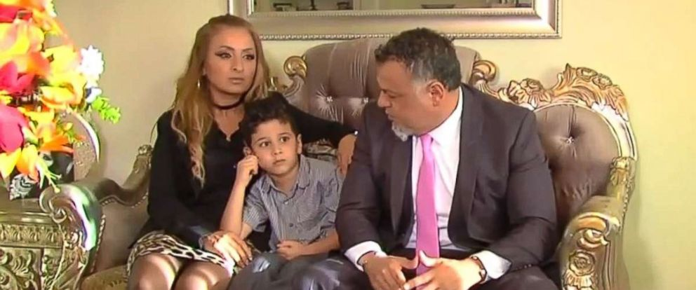 PHOTO: Hoda Dannaoui, left, with her 5-year-old son, Abdul, and their lawyer.