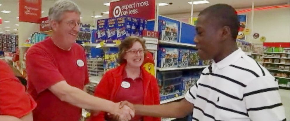 PHOTO: Yasir Moore revisited the Target store where employees helped prep him for his first job interview.