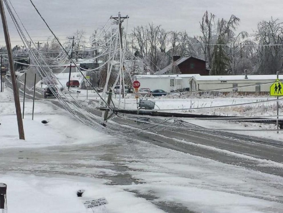 PHOTO: Significant icing across Monterey, Tenn. snapped power lines blocking roads in the area.