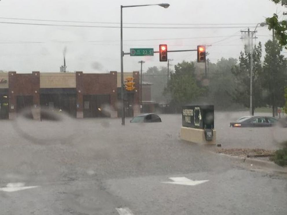 PHOTO: Nathanael Callon posted this photo on Twitter, May 23, 2015, with the caption, Flooding on 23rd in OKC. <p itemprop=