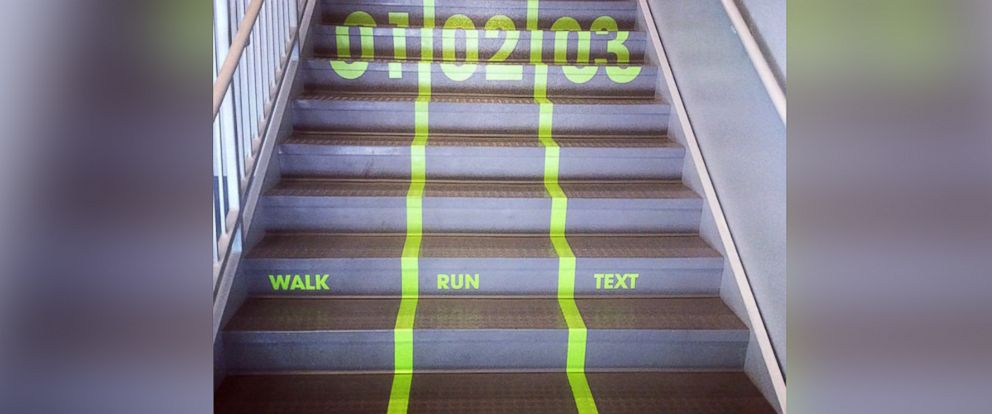 PHOTO: Utah Valley University put texting-and-walking lanes in their wellness center.