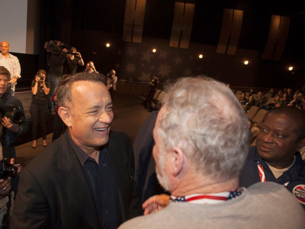 PHOTO: Tom Hanks greets wounded soldiers at a screening of Forrest Gump in Hollywood during a free trip set up by the Gary Sinise Foundation.