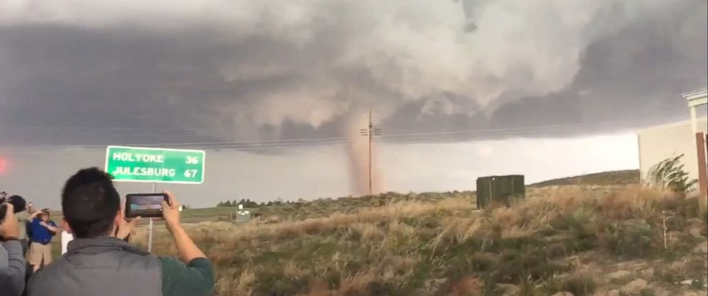 """PHOTO: Jennifer Jones (@Landlocked33) posted video to Twitter on May 7, 2016 with the caption, """"May 7th tornado - Wray CO."""""""