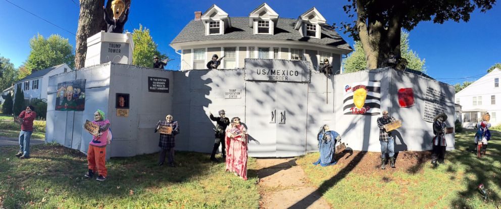 PHOTO: Matt Warshauers Halloween display outside his West Hartford, Connecticut, home features a cardboard replica of the wall Donald Trump has suggested he would build between the U.S. and Mexico.