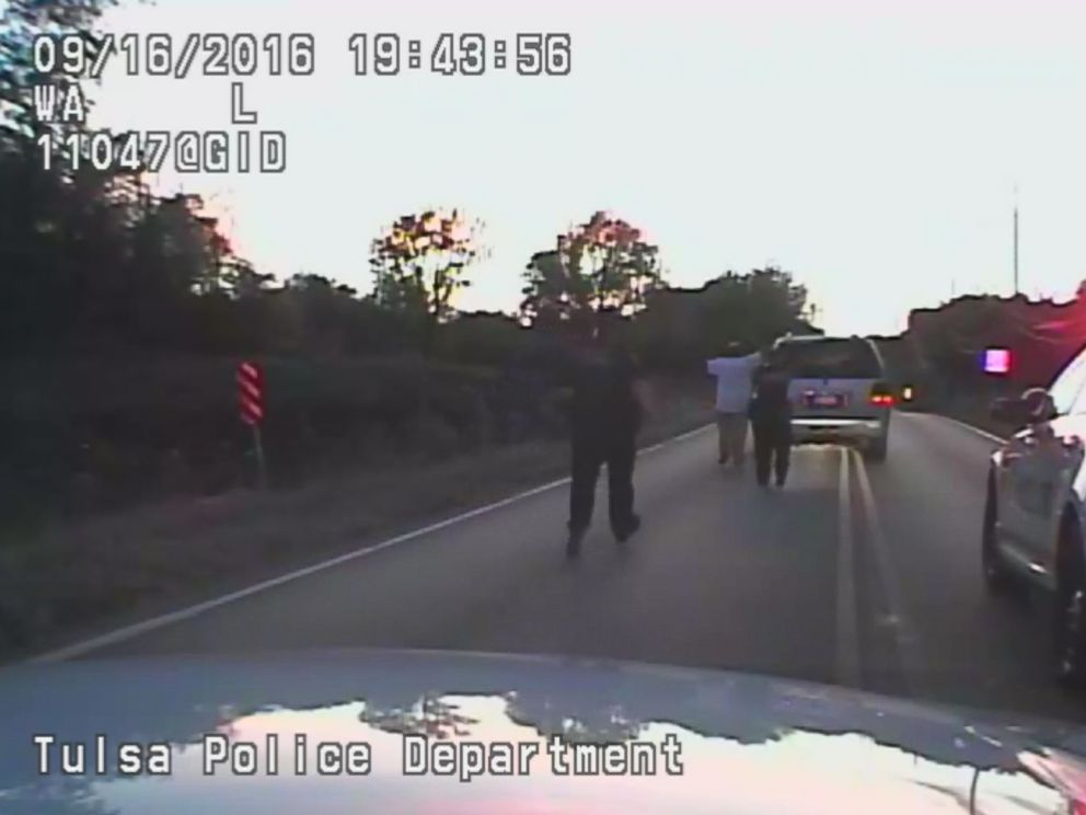 PHOTO: Video released by the Tulsa Police Department shows the moments before 40-year-old Terence Crutcher was shot by a police officer Friday night.