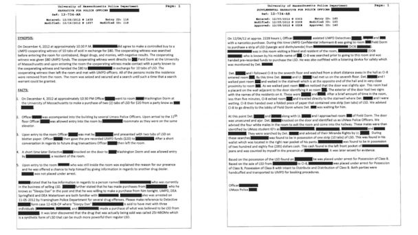 PHOTO: Details of Logans role as a campus police confidential drug informant for the University of Massachusetts-Amherst can be seen here in these documents.