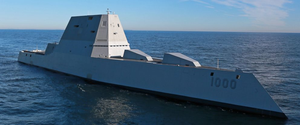 PHOTO: The future USS Zumwalt (DDG 1000) is underway for the first time conducting at-sea tests and trials in the Atlantic Ocean Dec. 7, 2015.