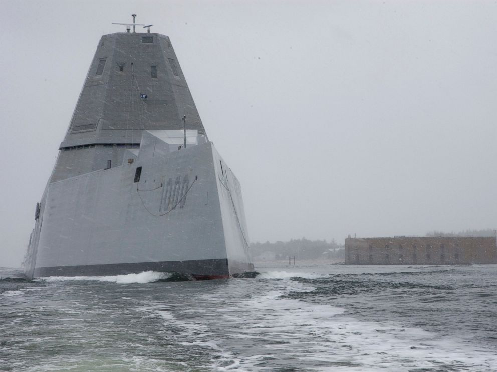 PHOTO: The future guided-missile destroyer USS Zumwalt (DDG 1000) departs the Bath Iron Works shipyard for its second at-sea period to conduct builders trials, March 24, 2016.