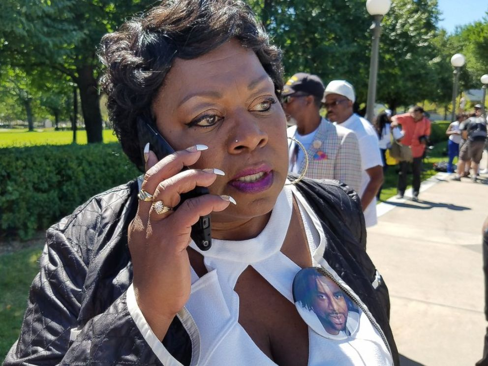 PHOTO: Valerie Castile took a call from President Obama, July 12, 2016.