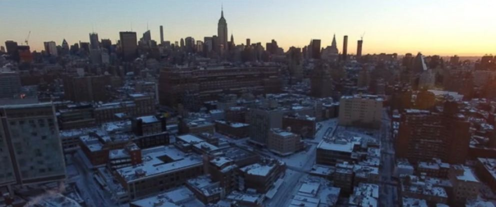 PHOTO: This still image from drone video shot by Viewing NYC on Jan. 24, 2016 shows New York City blanketed by snow from yesterday's winter storm.