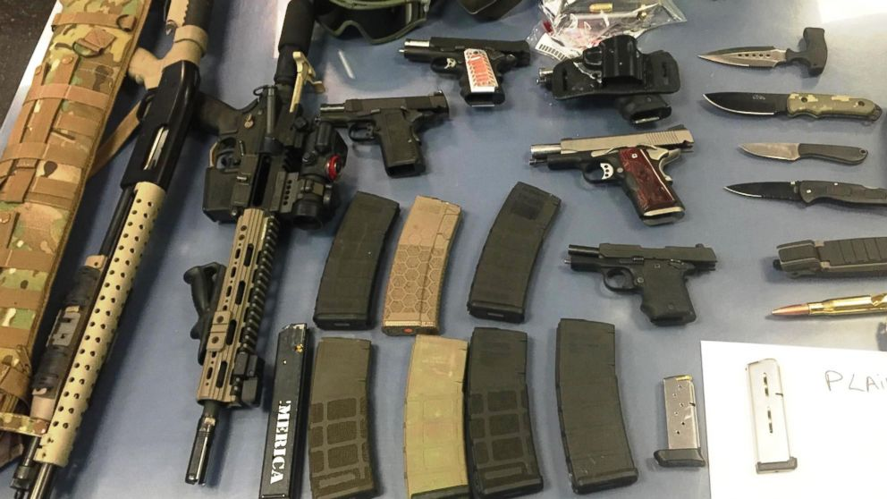 Guns and knives were recovered from a car stopped at the New Jersey side of the Holland Tunnel, June 21, 2016.