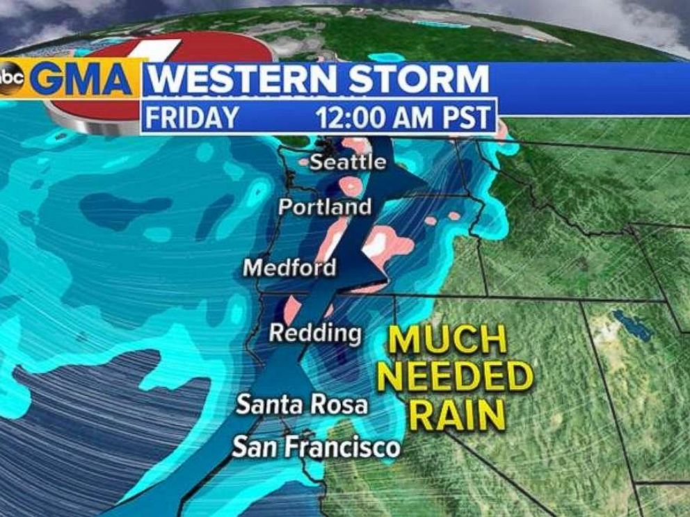 PHOTO: A weather map for the West, showing rain as it moves into the Napa Valley area of California late Thursday into early Friday morning.