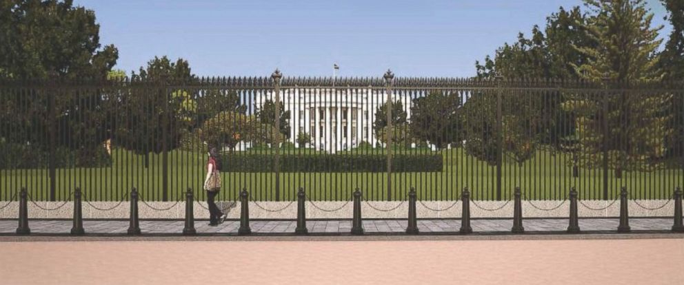 PHOTO: Rendering of proposed White House fence at South Lawn from E Street.
